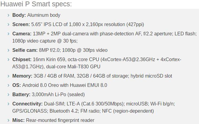 Specs for P Smart