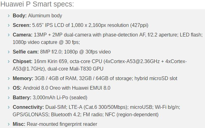 Specs for P Smart
